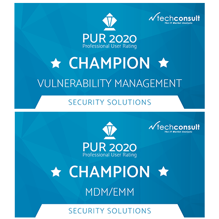 "rofessional User Rating: Security Solutions 2020 names baramundi ""Champion"" for MDM/EMM and Vulnerability Management"
