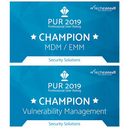 "Professional User Rating: Security Solutions 2019 names baramundi ""Champion"" for MDM/EMM and Vulnerability Management"